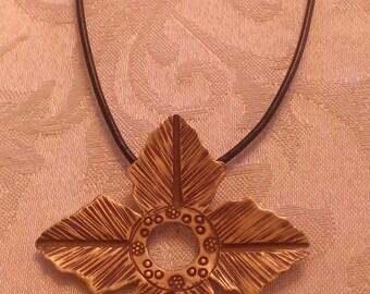 Flower Pendant on Leather