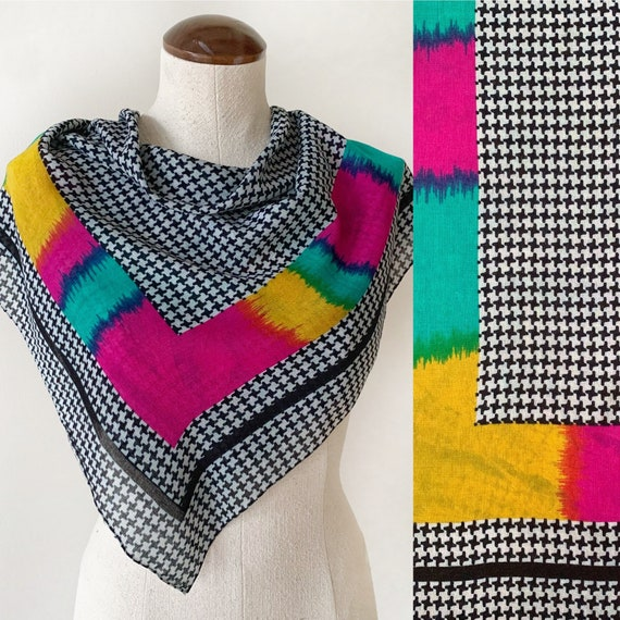 Vintage Houndtooth and Neon Scarf - Vintage Neck S