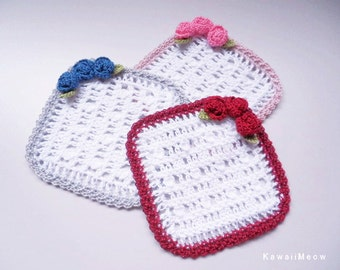 Crochet Doily Coaster Set - Pink , Blue and Red Roses -