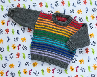 """Boys Rainbow Striped Jumper, Sweater, Pullover. Hand Knit Jumper. Hand Knit Sweater. Hand Knit Childrenswear.18"""" chest, 1 year old."""