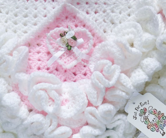 Babys First Blanket Crochet Ruffle Edge Blanket With Etsy
