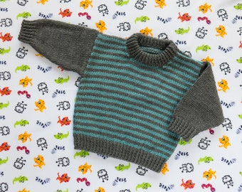 """Boys Blue Striped Jumper, Sweater, Pullover. Hand Knit Jumper. Hand Knit Sweater. Hand Knit Childrenswear.18"""" chest, 1 year old."""