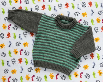 """Boys Green Striped Jumper, Sweater, Pullover. Hand Knit Jumper. Hand Knit Sweater. Hand Knit Childrenswear.18"""" chest, 1 year old."""