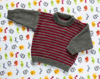"""Boys Red Striped Jumper, Sweater, Pullover. Hand Knit Jumper. Hand Knit Sweater. Hand Knit Childrenswear.18"""" chest, 1 year old."""