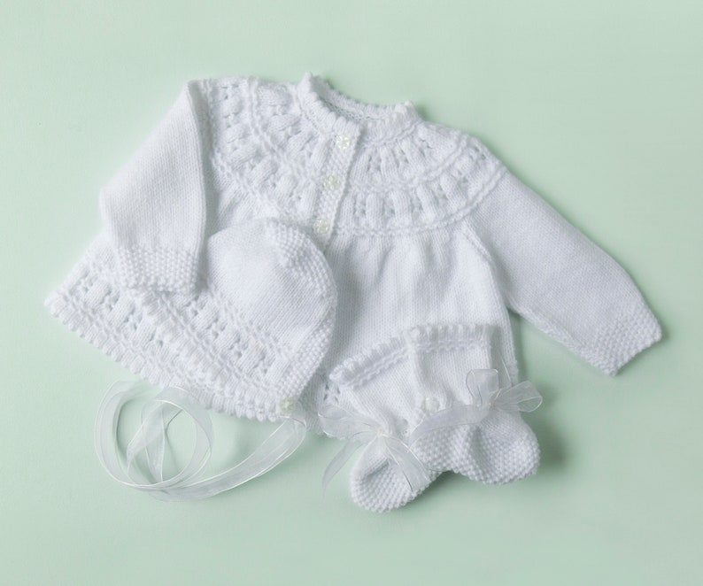 287ff7314 Traditional Style Baby Matinee Coat Hat   Booties Set White