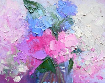 "Flower Painting, Floral Still Life, Hydrangea Painting, Palette Knife Painting, 6x8"" Oil Painting, Free Shipping in US"