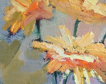 Yellow Flower Bouquet Original Small Oil Painting, Floral Still Life, Textured  Art, Home Wall Decor