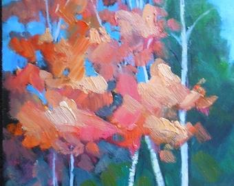 Autumn Trees Small Landscape Original Oil Painting, Carolina Wall Art, Rustic Cabin Decor, Asheville NC Fall Color Artwork