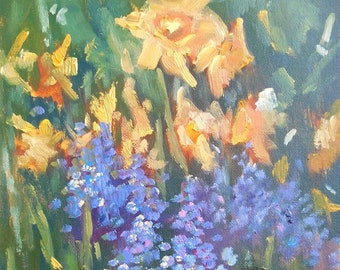 """Spring Floral, Small Oil Painting, Daffodil Painting,  6x8"""" Floral Landscape, Free Shipping in USA"""