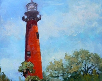 Florida Jupiter Lighthouse Giclee Print of Painting on Canvas or Art Paper , Nautical Wall Decor, Coastal Beach House Artwork, Free Proof