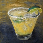 Margarita Giclee Print, Home Bar Art, Palette Knife Canvas, Free Shipping, Choose Your Size,Free Proof,  Ready to Hang