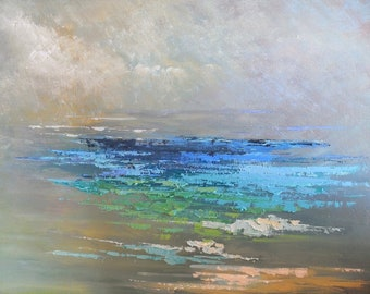 Abstract Seascape Original Oil Painting, Palette Knife Textured Art, Coastal and Beach House Wall Decor