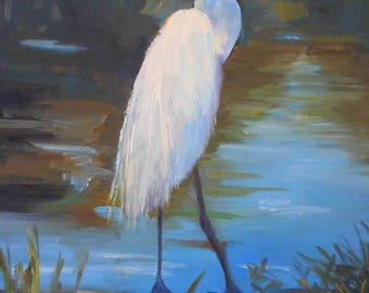 "Wildlife Painting, Original Snowy Egret Painting, Bird Painting, 11x14""  Oil Painting on Panel, Free shipping in US"