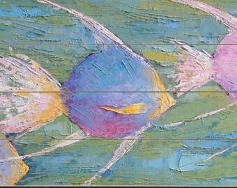 Angelfish Giclee Print of Painting on Wood Planks, Florida Nautical Wall Art, Wildlife Tropical Fish, Coastal Beach House Decor