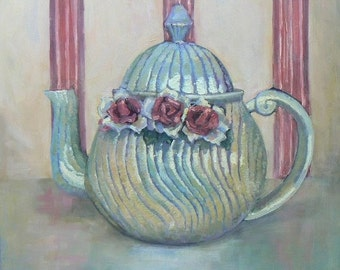 "Impressionist Teapot Painting, Still Life Painting 16x16""Original Art,  ""Antique French Teapot"" by Carol Schiff, Free Shipping in US"