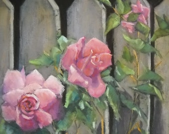 "Impressionist Rose Painting, Daily Painting,  ""Plantation Roses"" by Carol Schiff, 12x12x1.5"" Oil"
