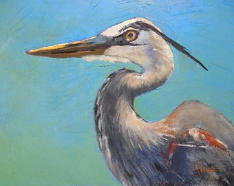 "Bird Painting, Wildlife painting, Daily Painting, ""Great Blue Heron"" by Carol Schiff, 11x14x1.5 Oil, Free Shipping in US"