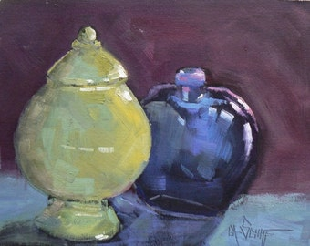 """Painting on Sale, Daily Painting, Still Life Painting, """"Blue and Green"""" by Carol Schiff, 6x8"""" oil,Reduced from 110.00"""