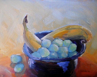 "Fruit still life, Daily Painting, Small Oil Painting, ""Banana and Grapes"" by Carol Schiff, 6x8"" Original, Free Shipping in US"