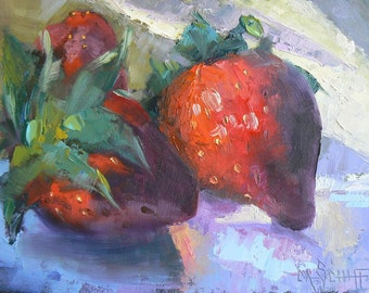"Strawberry Painting, Strawberry Still Life, Kitchen Painting, Daily Painting, 6x8"", OOAK,"" Strawberry Jam"", Free Shipping in US"