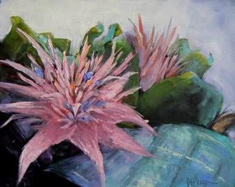"Flower Still Life, Small Oil Painting, Floral Painting, 8x10 Painting, Daily Painting, ""Aechmea Bromeliad"" 8x10"", Free Shipping in US"