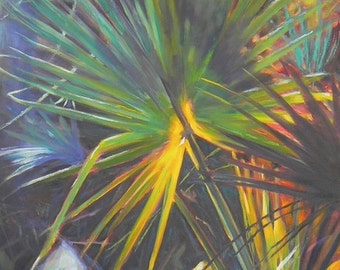 Florida Tropical Landscape Giclee Print of Painting on Canvas or Fine Art Paper, Southern Home Wall Decor,  Choose Your Size, Free Proof