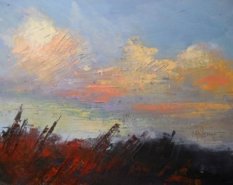 "Cloud painting, Daily painting, Small Oil Painting, ""Autumn Skies"" by Carol Schiff, 8x10x1.5"", Free Shipping in US"