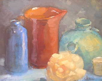 Traditional Still Life Painting, Small Still Life Painting, 8x10 Original Oil Painting, Free Shipping in US
