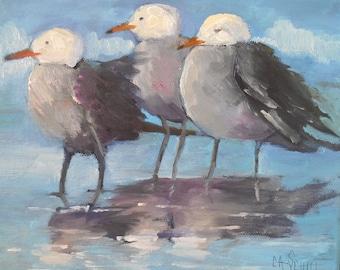 Florida  Small Original Oil Painting Three Seagulls in Surf, Coastal and Beach House Decor, Bird Wildlife Art