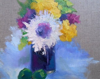 "Floral Still Life, Small Flower Still Life, ""Mary's Vase"" , 9x12"" Oil Painting, Free Shipping in US"