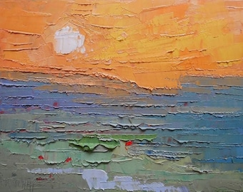 "Expressionist Abstract Seascape, Palette Knife Painting, 9x12x.75"" Original Oil, Free Shipping in USA,  ""Burning Sky"""