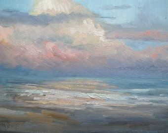 Sunset Seascape Giclee Print on Canvas, blue, pin, choose your size, free shipping, ready to hang, no frame required