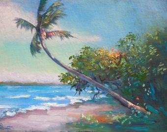 Florida Palm Tree Landscape Original Oil Painting, Tropical Breezy Day Canvas Panel Art, Coastal and Beach House Wall Decor, Small Art