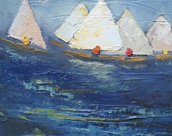 Sailboat Giclee Print, Sailboat Painting, Giclee Canvas Print, Free Shipping, Carol Schiff Print, Choose Your Size, Ready to Hang