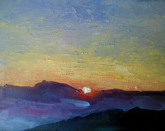 Mountain Sunset Print, Mountain Sunset Giclee. Sunset Canvas Print, Free Shipping, Choose Your Size, Ready to Hang, No Frame Required