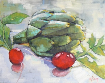 """Painting on Sale, Artichoke Oil Painting, Vegetable still life, 9x12"""" Still life , """"Artichoke and Radish"""", Reduced from 250.00"""