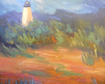 "Lighthouse Painting, Daily Painting, Small Oil Painting, ""Lighthouse on the Marsh"" 11x14"", Free Shipping in US"
