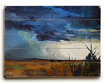 Abstract Florida Everglades Storm Landscape Giclee Print of Painting on Wood Planks, Rustic Wall Decor for Home or Office