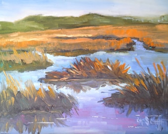 "Marsh Painting, Daily Painting, Small Oil Painting, ""Marshlands"", 6x8"" Oil, Free Shipping in US"