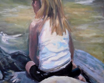 """Figurative Print on Canvas, Young Girl Print, """"On the Rocks"""", Carol Schiff Print, Free Shipping, Choose your Size, Ready to Hang"""