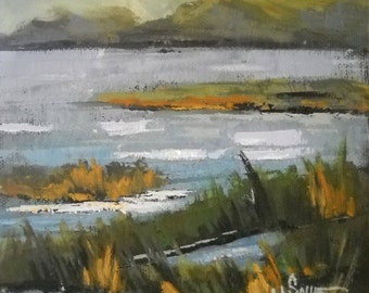 "Marsh Landscape Painting, Daily Painting, ""North Florida Marsh"" by Carol Schiff, 6x6x1.5 Oil, Free Shipping in US"