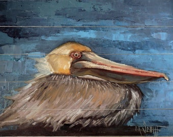Florida Pelican Giclee Print of Painting on Wood Planks, Coastal and Beach House Wall Decor,  Rustic Giclee Print