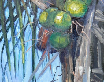 """Tropical Landscape Painting,Florida Art, Original Oil, 6x8 painting, """"Going Coconuts"""", Free Shipping in US"""