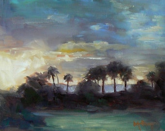 Tropical Landscape Giclee Print On Canvas, Florida Landscape, Marsh Painting Print, Free Shipping, Choose Your Size, Ready to Hang, No Frame