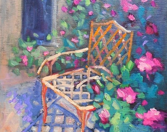 "Chair Painting, Garden Painting, Daily Painting, Small Oil Painting, In the Garden by Carol Schiff 8x8x1.5"", Free Shipping in US"