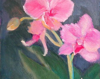 "Pink Orchid Painting, Small Oil Painting,  Floral Still Life, Small Flower Painting, 6x6"" Oil Painting on Panel, Free Shipping in US"