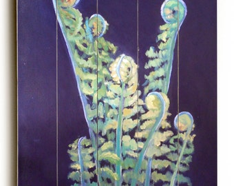 Fiddlehead Fern painting print on wood plank, giclee print on wood, choose your size, free shipping, ready to hang, No Frame Required