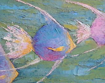 "Fish Oil Painting, Tropical Fish Painting, Palette Knife Painting, Wildlife Painting, 8x16x.75"" Textured Art, Free shipping in US"