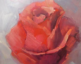 "Rose Panting,   Small Oil Painting, Flower Oil Painting, 6x8"" Original Painting, Free Shipping"