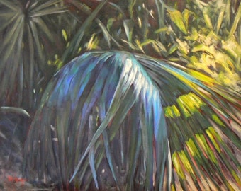 """Tropical Landscape Painting, Florida Painting BLUE PALMETTO,  16x20x1.5""""  oil landscape"""